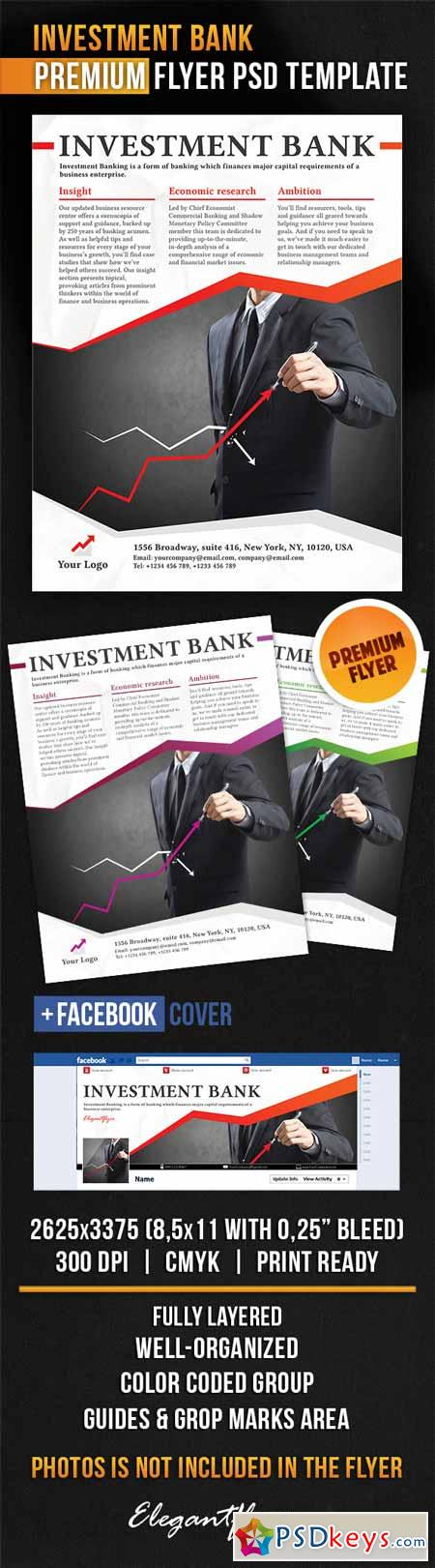 Investment Bank – Flyer PSD Template + Facebook Cover
