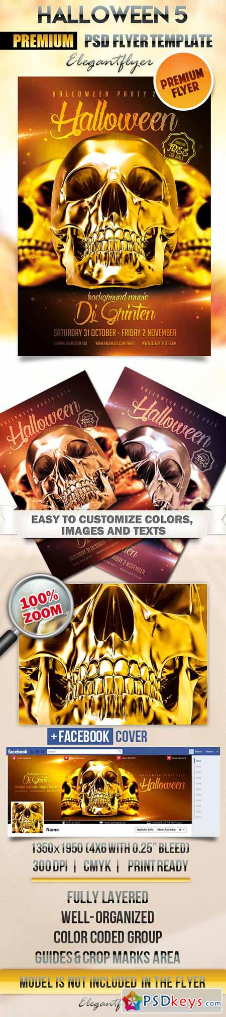 Halloween 5 – Flyer PSD Template + Facebook Cover