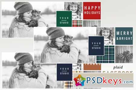 Plaid Holiday Facebook Cover Set 394665