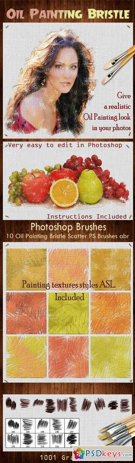 10 Oil Painting Bristle Scatter PS Brushes 13291434
