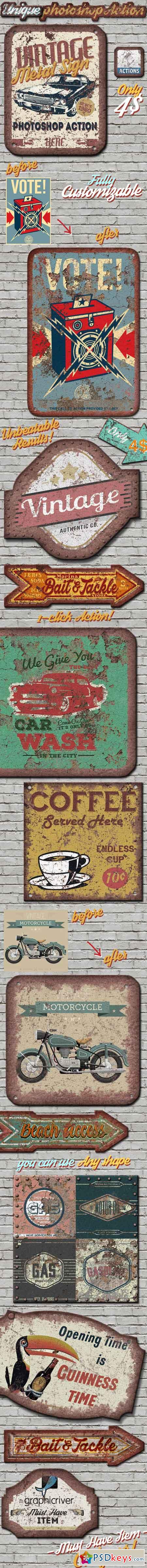Vintage Metal Sign Photoshop Action 13296572