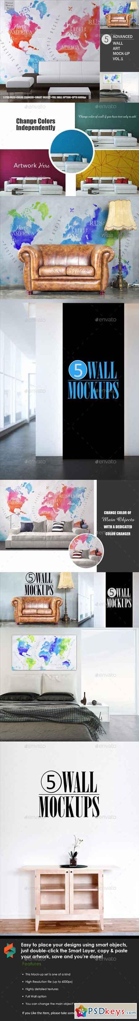 5 Advanced Wall Art Mock-ups vol.1 13227733