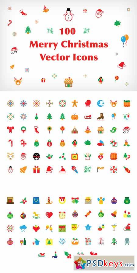 100 Merry Christmas Vector Icons 106271