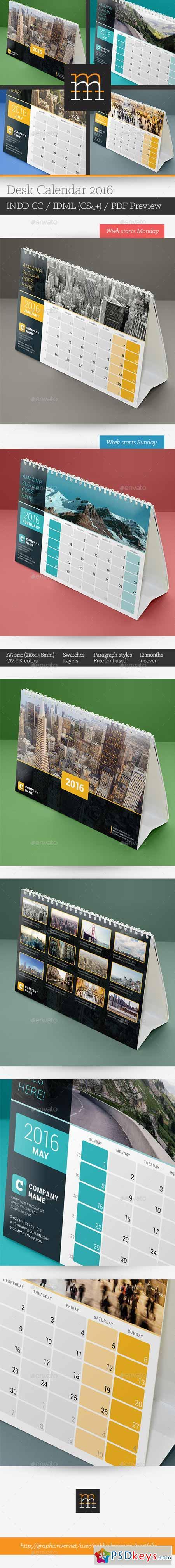 desk calendar 2016 13234450 free download photoshop vector stock