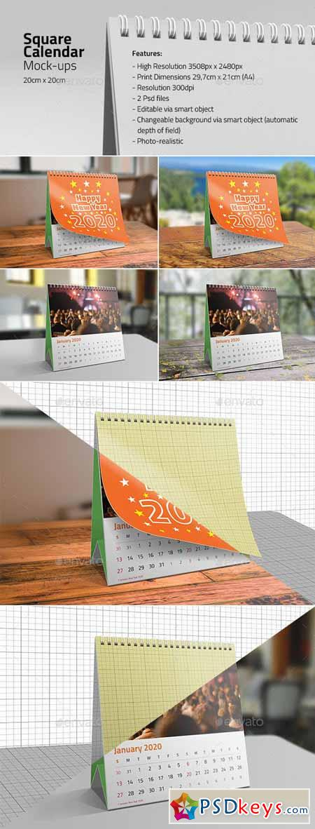 Square Desk Calendar Mock-ups 13209543