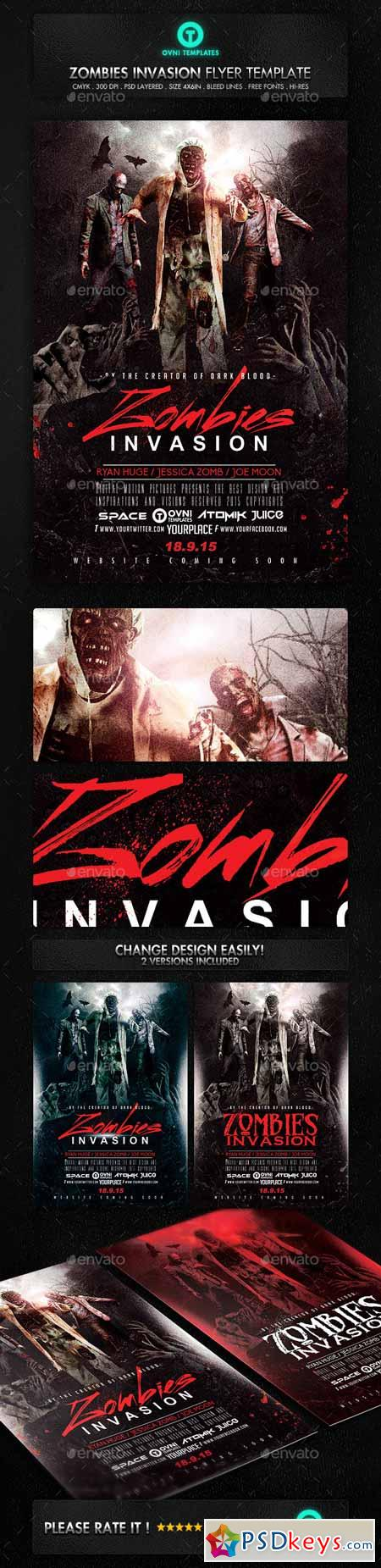 Zombies Dead Invastion Flyer Template 13181480