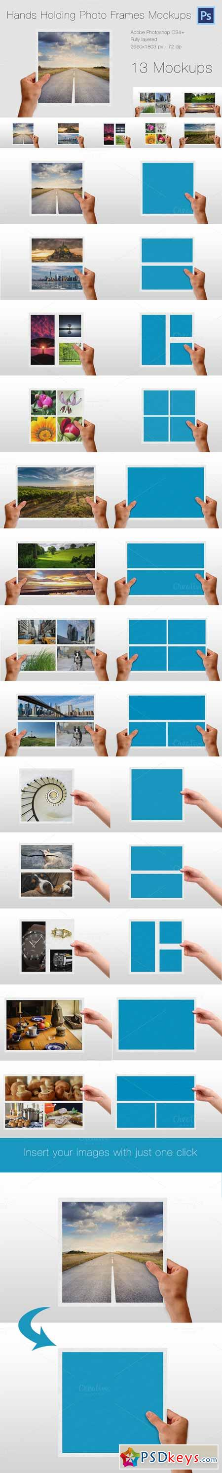 Hands Holding Photo Frames Mockups 404459