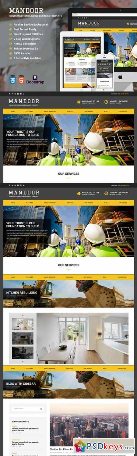 Mandoor Construction Web Template Free Download Photoshop - Web template torrent