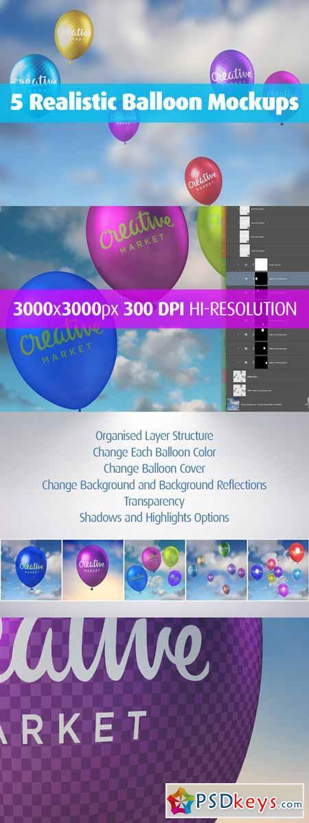5 Realistic Balloon Mockups 405488