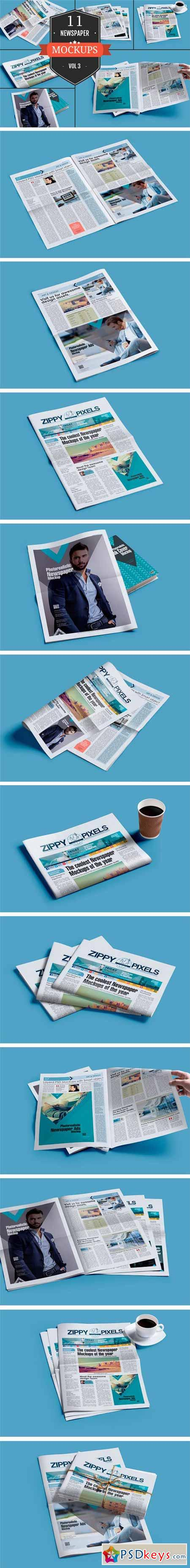 Newspaper Mockup PSDs Vol. 3 351779