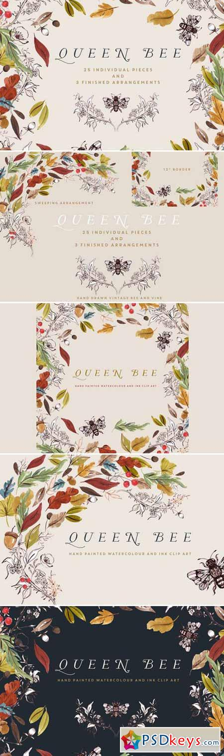 Watercolour Clip Art - Queen Bee 409548