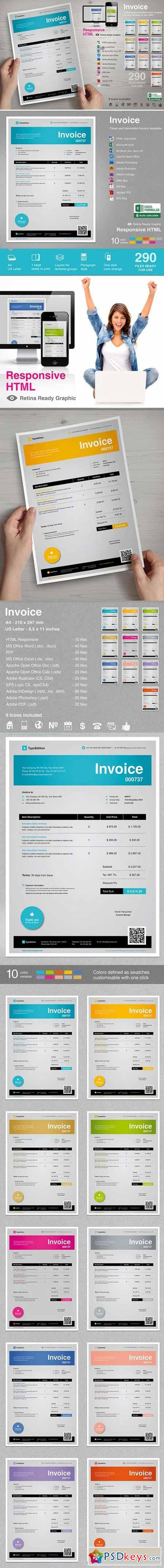 Invoice Stationery Template 407743 » Free Download Photoshop Vector ...