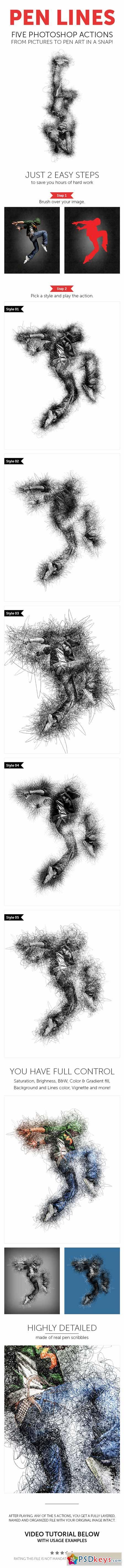 Pen Lines - Photoshop Action 13341322