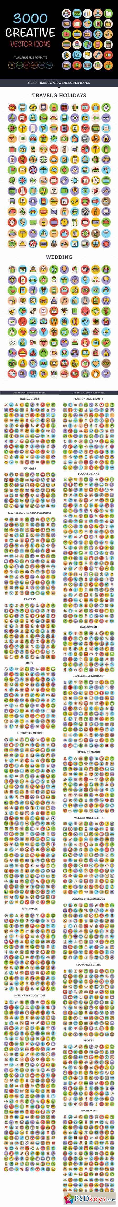 3000 Creative Vector Icons Bundle 407912