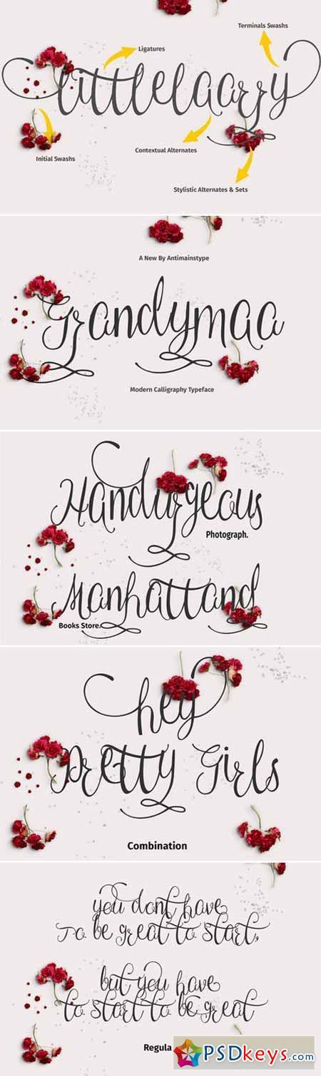 Grandymaa Typeface + Swashs 409355