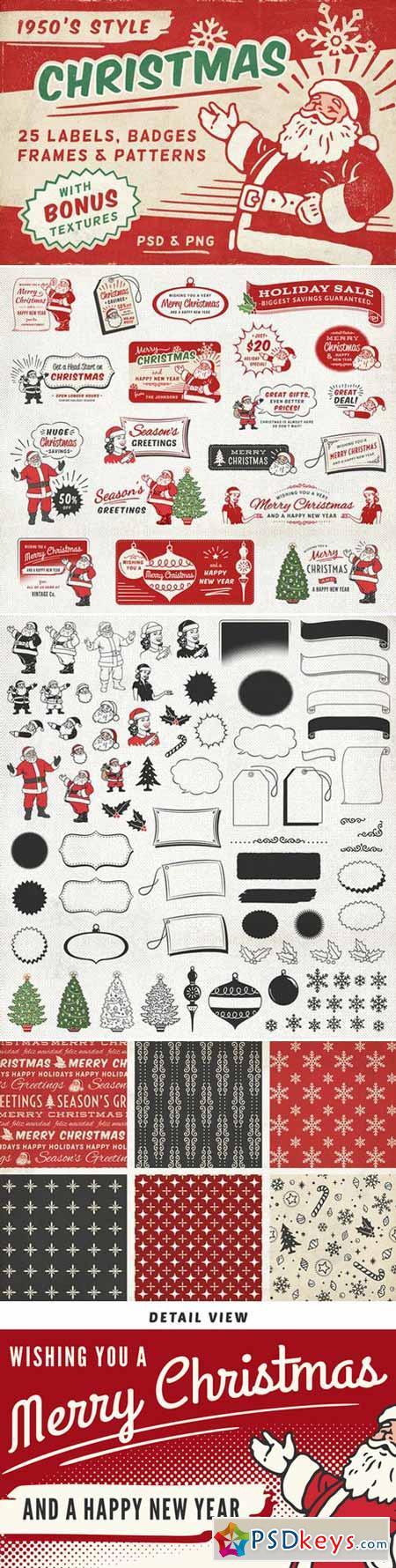 Retro Christmas Labels, Badges 404506