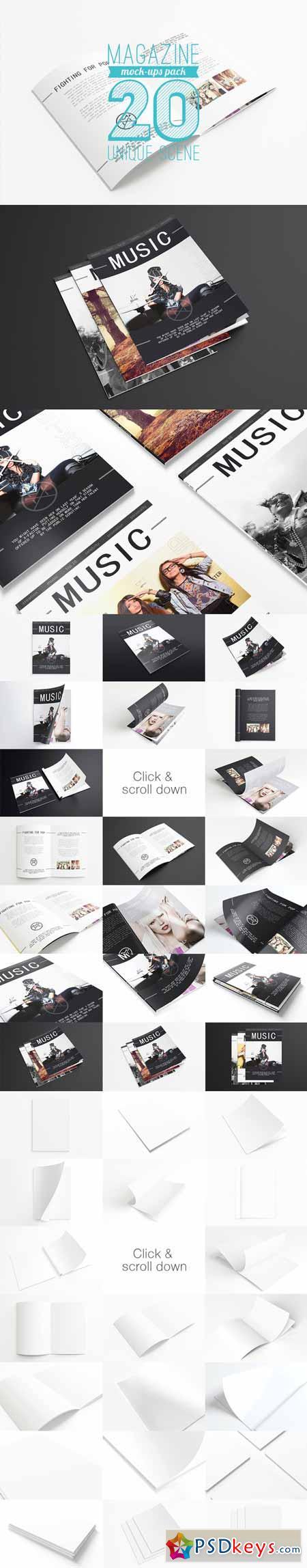 20 Magazine Mock-ups Pack 91927
