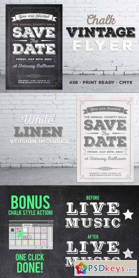 Vintage Chalk Flyer Invite 397997