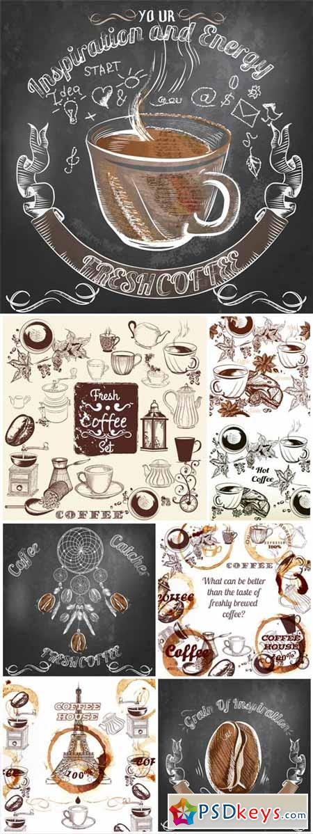 Coffee, vector labels