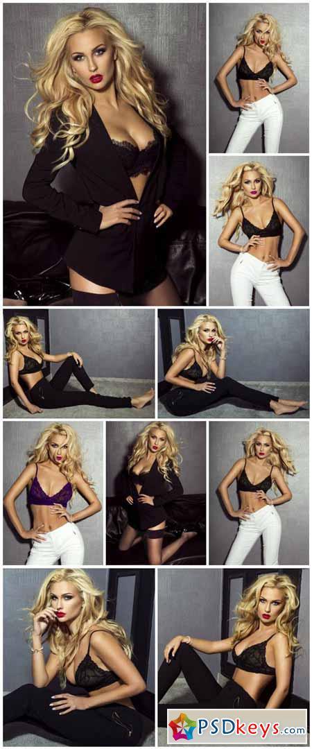 Elegant blonde woman in lingerie
