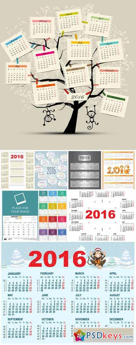 Calendars for 2016 new year vector