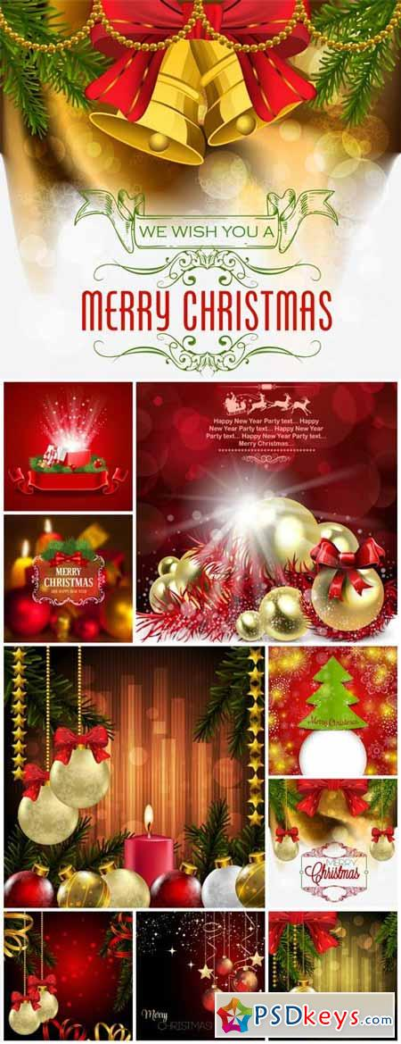 Christmas and New Year, vector backgrounds