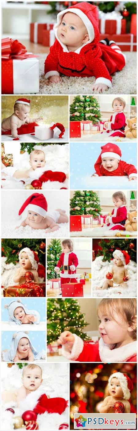 Little kids, Christmas and New Year - stock photos