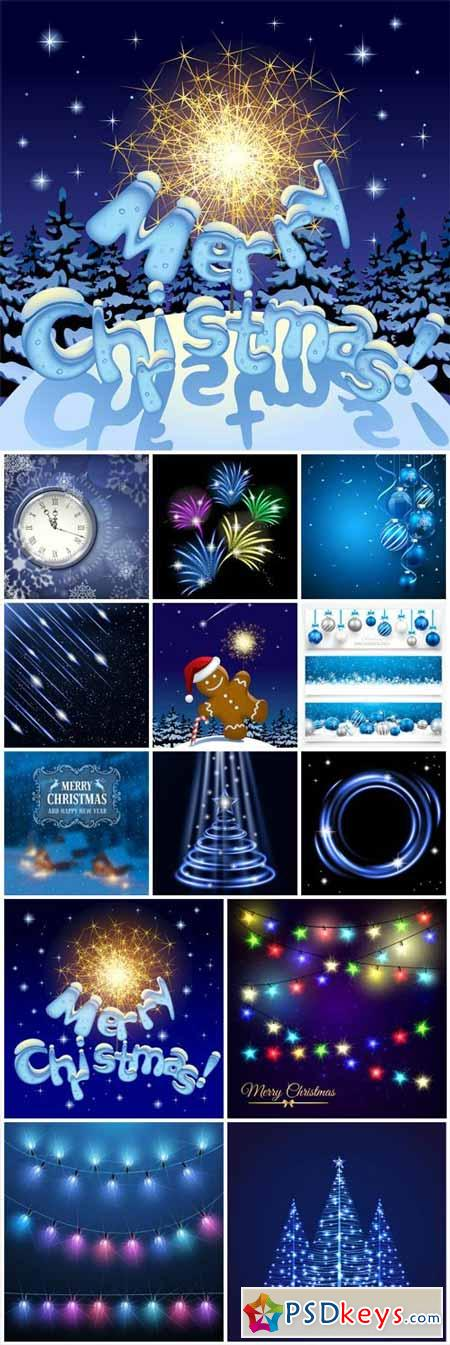 Christmas and New Year, vector shining backgrounds