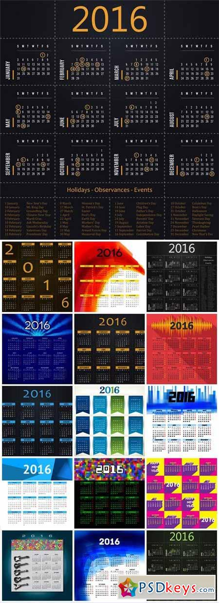 Vector calendar 2016 with dates of holidays