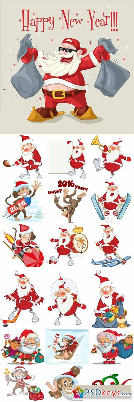 Santa Claus and funny monkey vector 2016