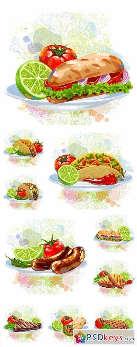 Food with meat and vegetables, vector