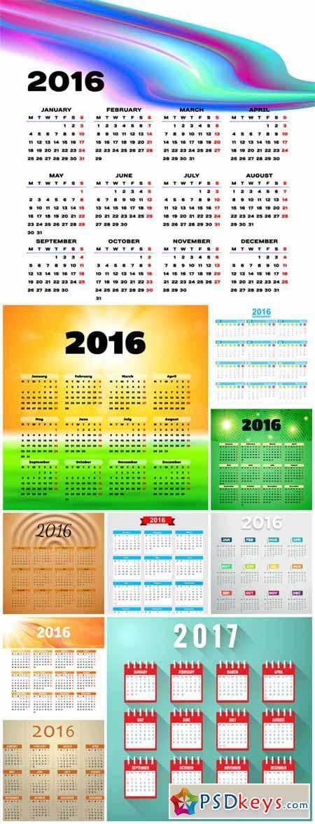 Set of vector calendar for 2016