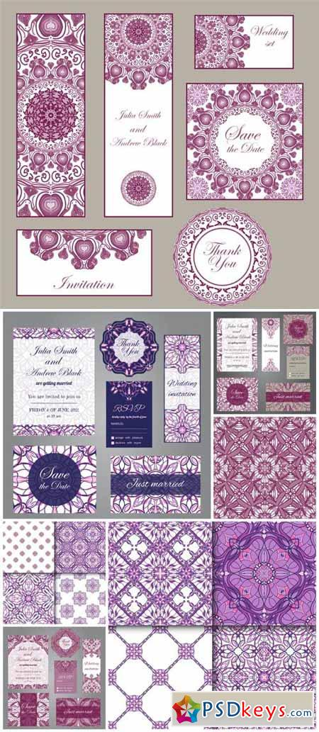 Wedding Invitations, vector backgrounds with patterns