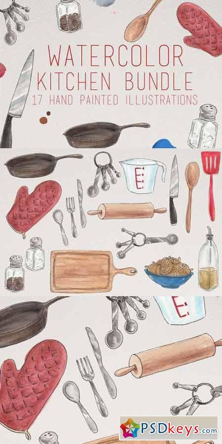 Watercolor Kitchen Illustrations 407854