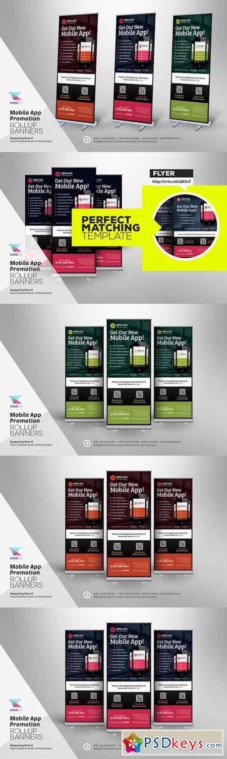 Mobile App Roll-up Banner Template 381050