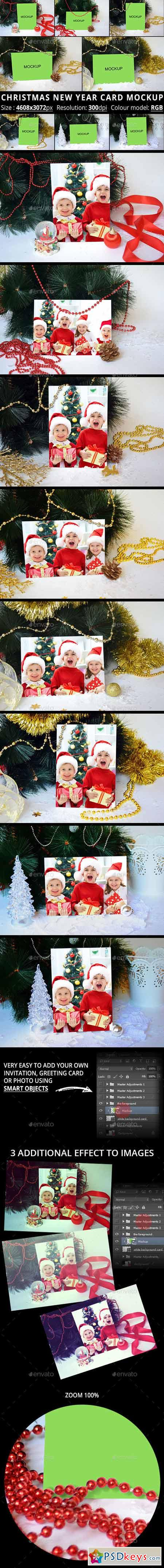 Christmas New Year Card Mockup 13340361