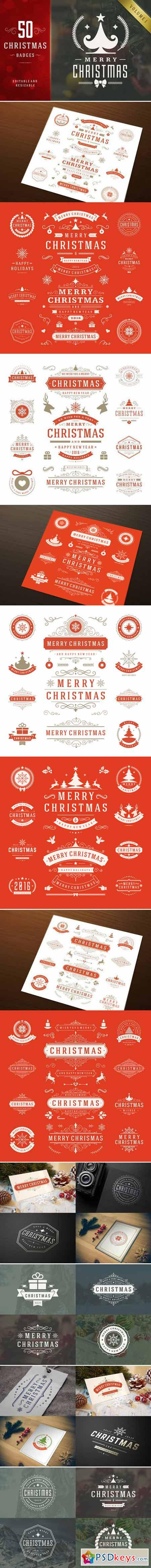 50 Christmas labels and badges 411111