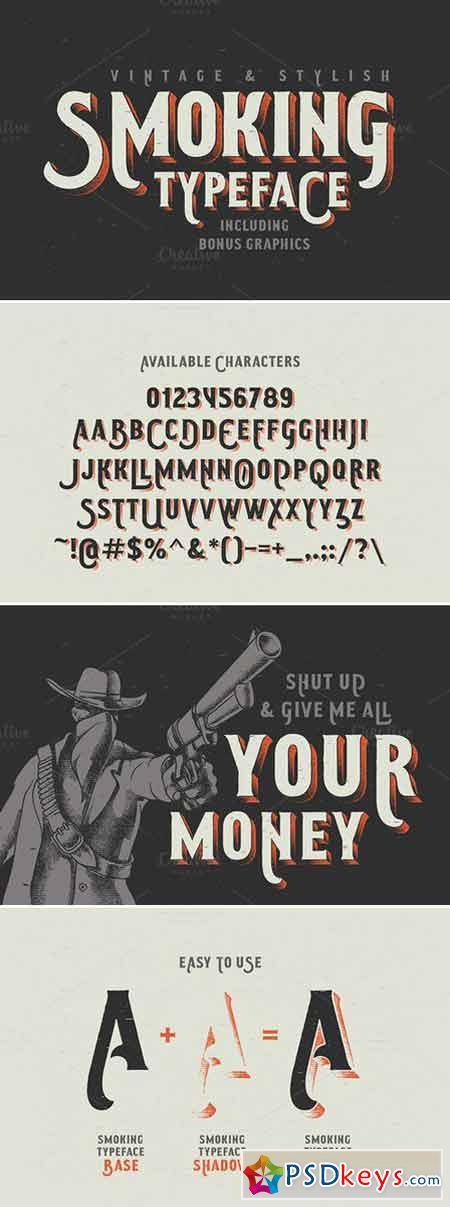 Smoking typeface + Illustration 411226