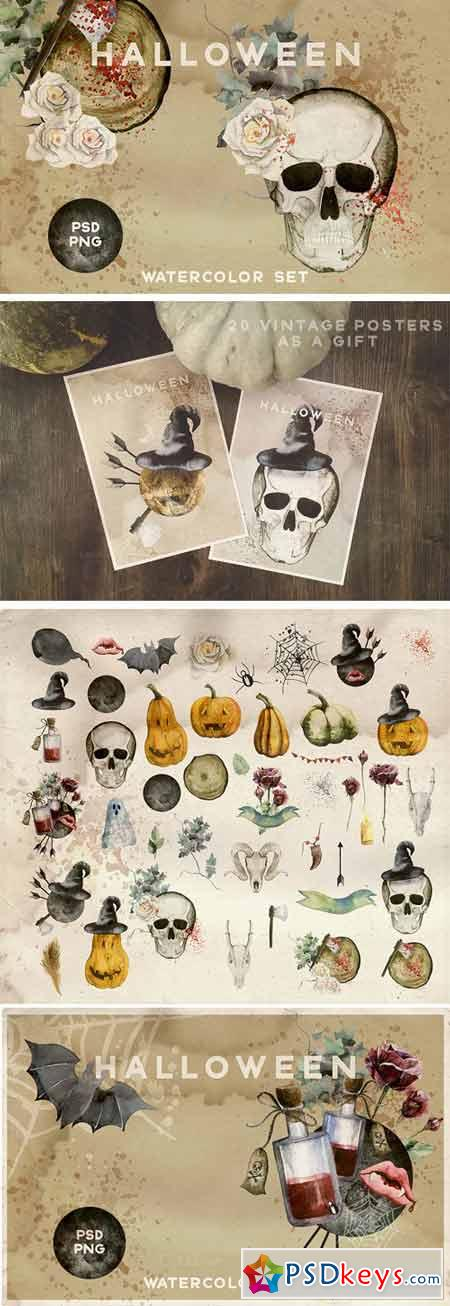 Watercolor Halloween Vintage Set 388599