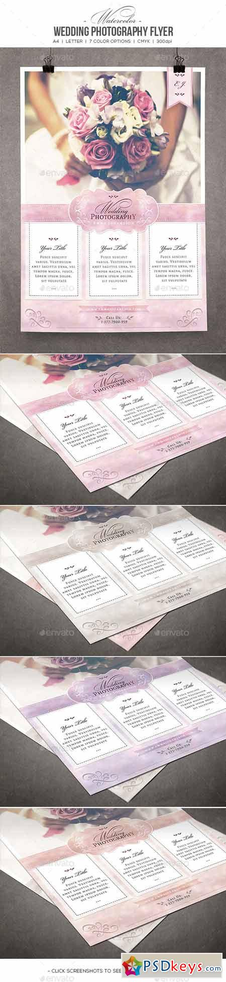 Watercolor Wedding Photography Flyer 10573483
