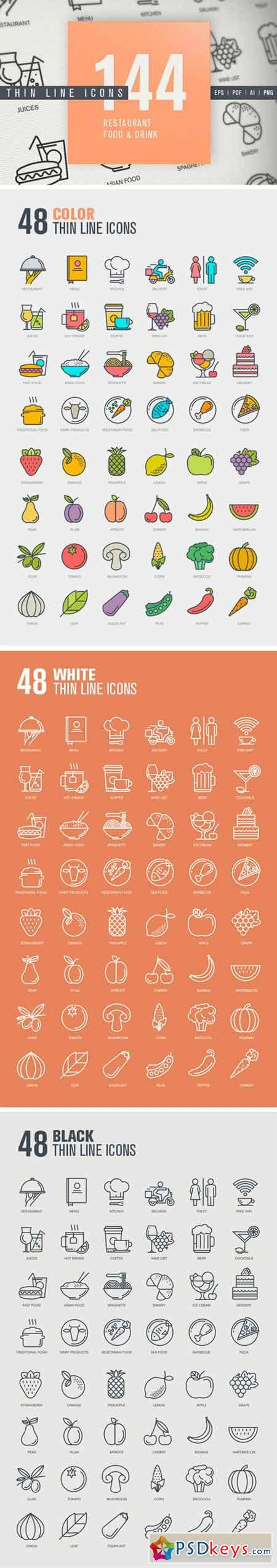 Thin Line Icons for Food & Drink 329510