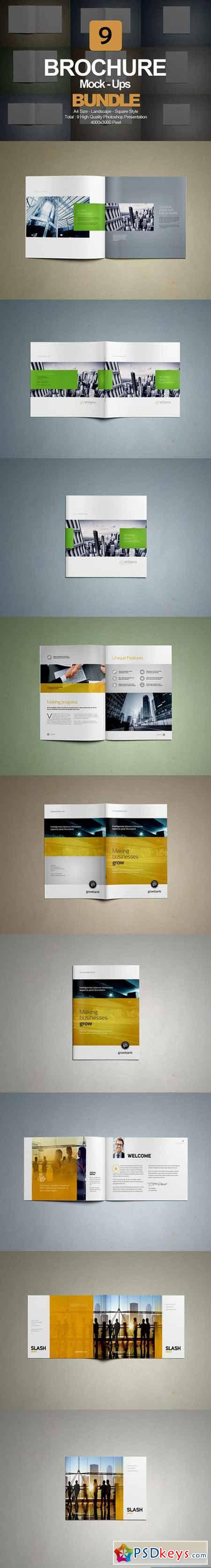 Brochure Mock- Up Bundle 9 in 1 416402