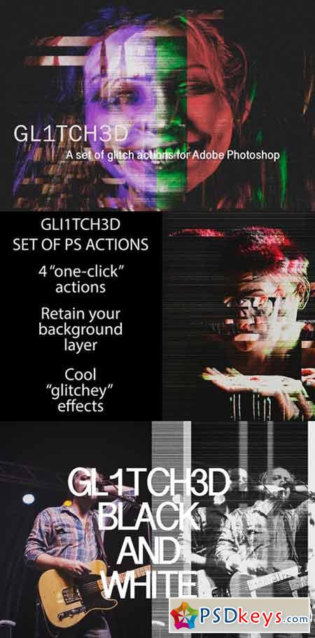 Glitched Set of Photoshop Actions 413833