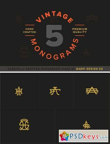 5 Vintage Monograms Samples 348586