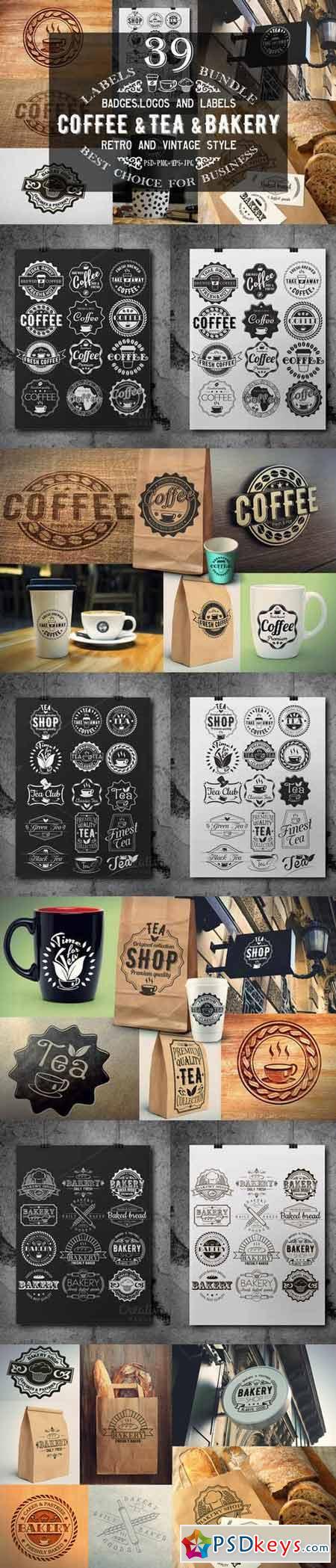 39 Coffee,Tea and Bakery logo bundle 367731