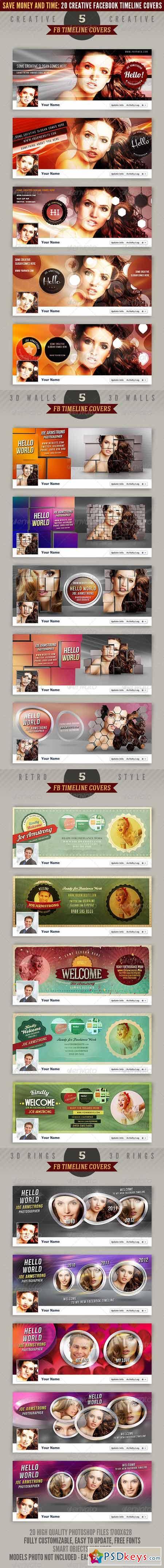 20 Facebook Timeline Covers Bundle 2497461