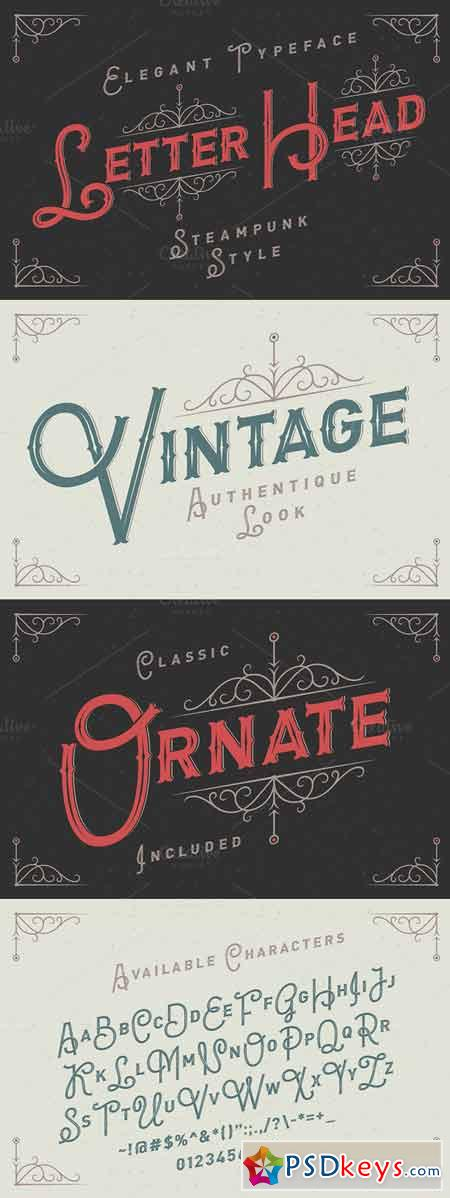 Letterhead typeface with ornate 296596