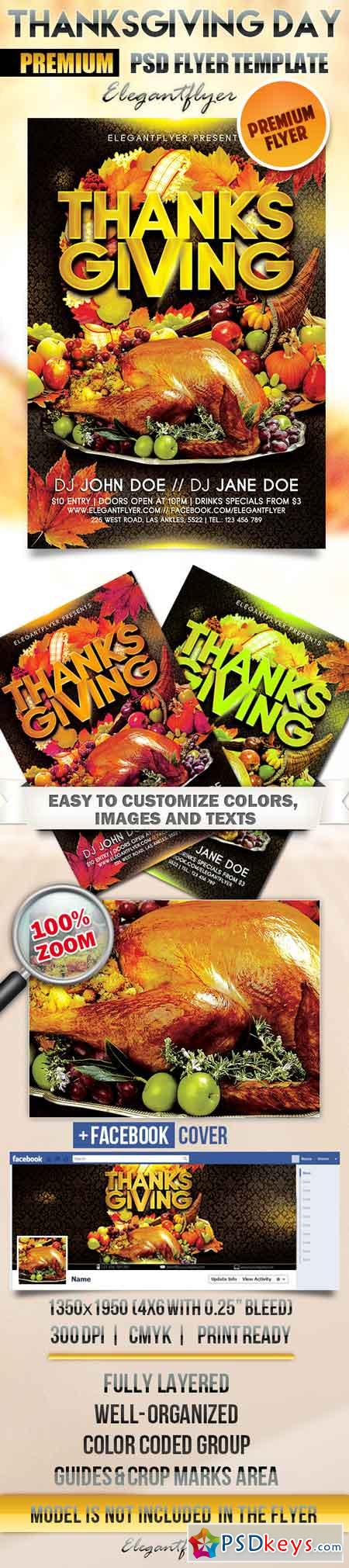 Thanksgiving Day – Flyer PSD Template + Facebook Cover 2