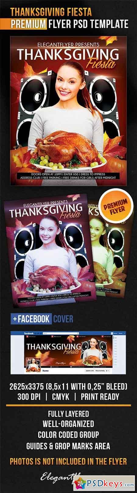 Thanksgiving Fiesta Flyer PSD Template + Facebook Cover