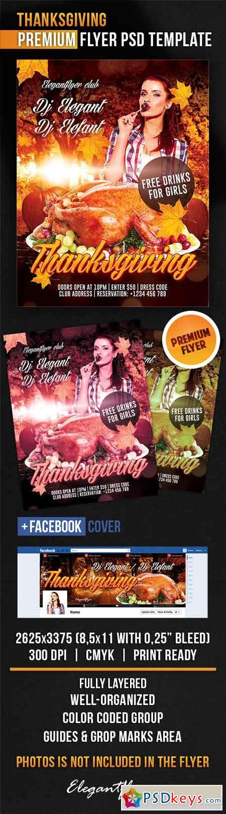 Thanksgiving – Flyer PSD Template + Facebook Cover 3